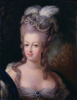 Marie Antoinette sporting the pouf hairstyle in 1775 - an elaborate construction first developed by Léonard Autie