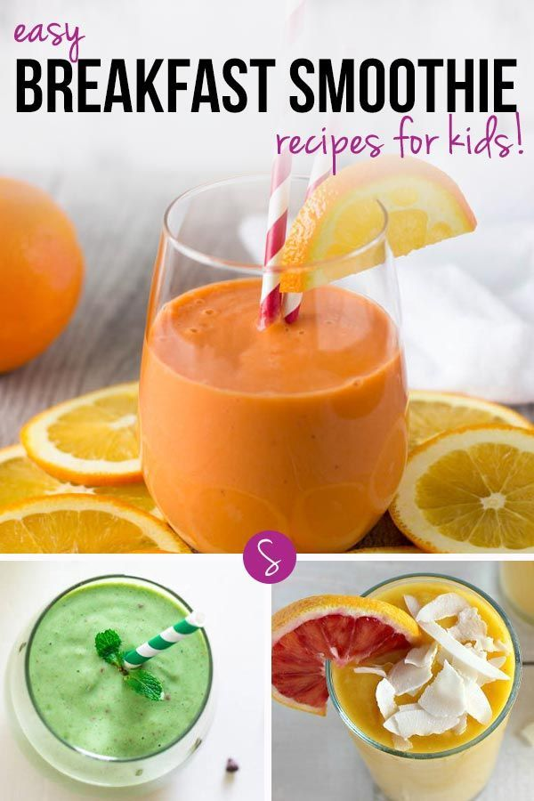 Easy Breakfast Smoothie Recipes for Kids: These healthy breakfast smoothies are DELICIOUS! And they're great energy boosters for your kids too!
