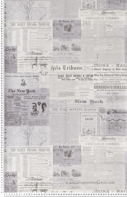 Cars gazette gris - Papier peint Oxford de Lutèce