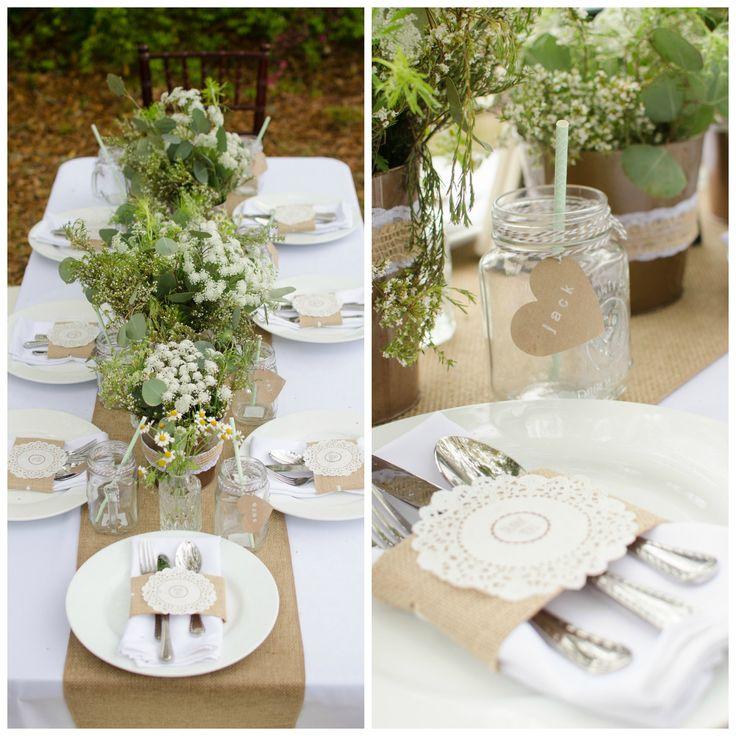 burlap mason jars meg burke photography diy weddings magazine southern chic wedding