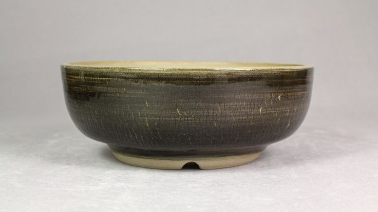 "Weathered Midnight Black 6"" Round Bonsai Pot by Ashley Keller"