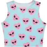 QZUnique Women's New Partysu Cute Eyes Printed Midriff-baring Short Loose Tank Top White at Amazon Women's Clothing store: