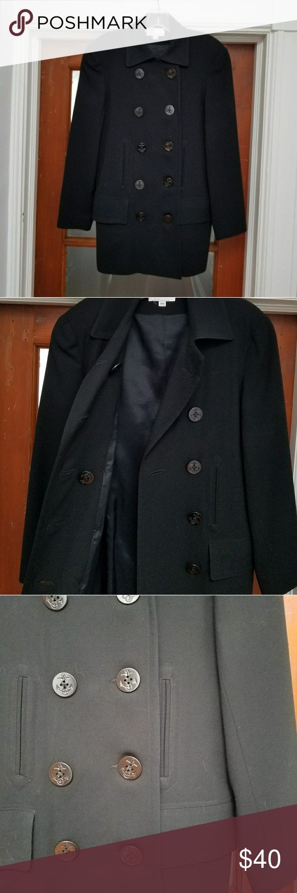 En Route Peacoat (from Nordstrom) In excellent condition black En Route double-breasted peacoat.   Buttons have a anchor sailor etching to complete the peacoat look!  Has four front pockets, two are side pockets that are still sewn shut from initial purchase.  No size tag (other than Petite), but size and shaping is consistent with size four coat.  Fully lined and from a pet and smoke-free home! Nordstrom Jackets & Coats Pea Coats