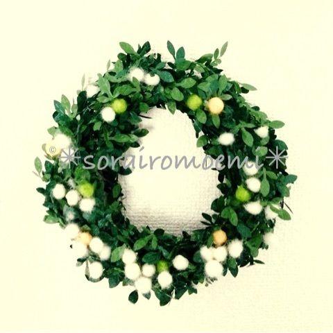 羊毛フェルトで作る・簡単クリスマスリース | *sorairomoemi*