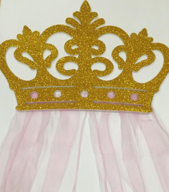 Huge Gorgeous Crown Wall Decor With Sheers For Your Little Etsy Crown Wall Decor Crown Decor Party Wall Decorations