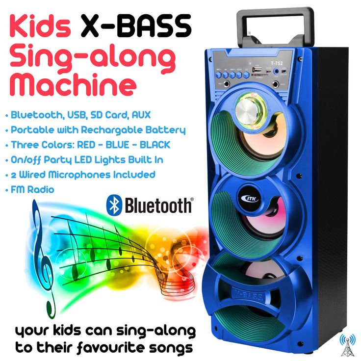 X-Bass Kids Sing-Along Machine, Blue Edition, Bluetooth, SD Card, USB, FM Radio, Rechargeable Battery.