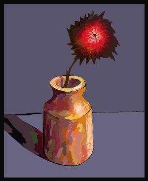 Flower in a Pot.Kathy Lewis. Digital art. iPad painting, flowers.