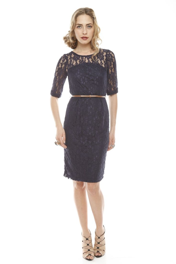 Navy Lace Dress with Belt