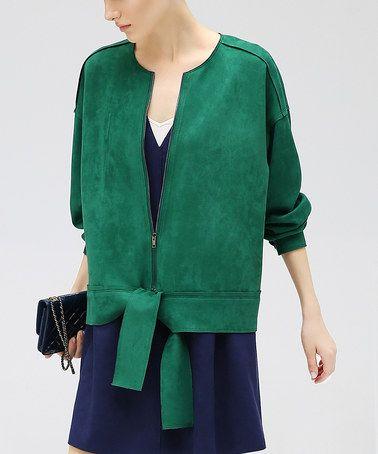Another great find on #zulily! Green Zip-Up Jacket #zulilyfinds
