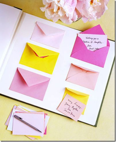 guest book. lovely idea to get personal messages from everyone and a useful reminder for thank you notes.