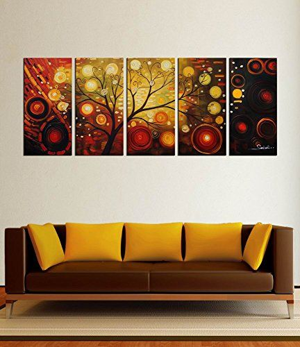 ARTLAND Modern 100 Hand Painted Abstract Oil Painting On Canvas The Tree Of  Life Framed Wall Art Inches For Living Room Artwork For Wall Decor Home ... Part 53