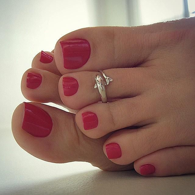 Long red polished nails 7