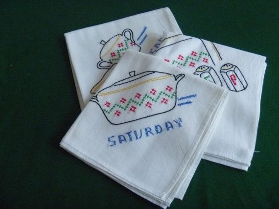 Embroidered Flour Sack Dish Towels Three Days of the Week by EauPleineVintage, $17.00