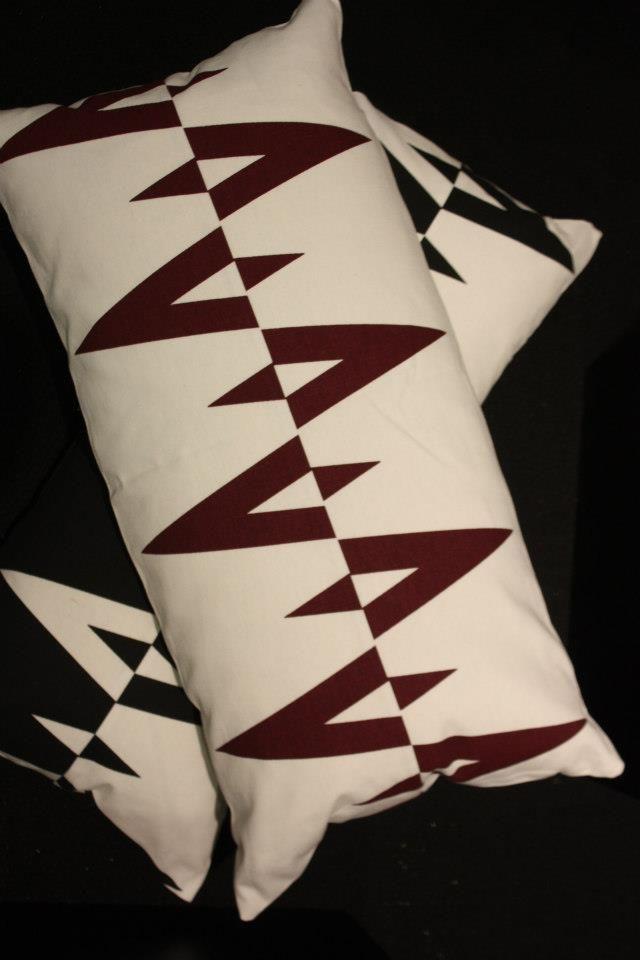 FREEMOVER Prisma™ patterned cushions 35x75 cm, black/white and dared/white. Design Maria Lovisa Dahlberg.