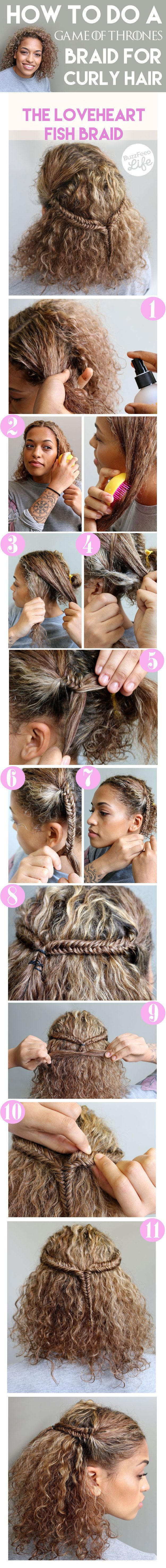 Game of Thrones inspired braid for curly hair