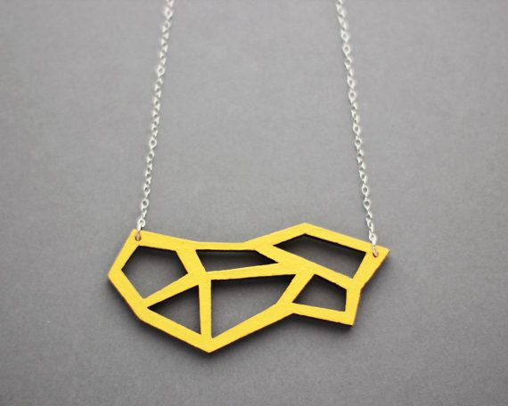 Wooden Geometric Cut Out Necklace (Yellow) - Modern Handmade Jewellery on Etsy, £17.00