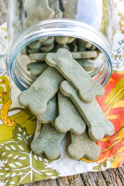 "Breath Freshening Dog Treats - the effect is similar to ""Greenies"" but without all of the extra ingredients.  A little labor intensive, but achievable, and these are dehydratyed and raw - Not Baked."