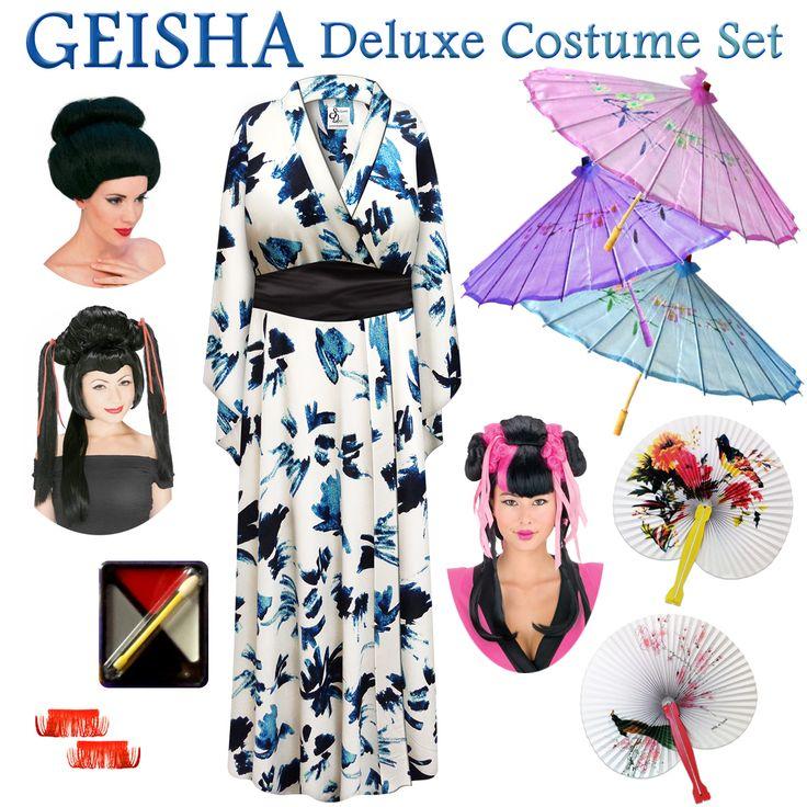Navy & Cream Abstract Print Geisha Costume Plus Size
