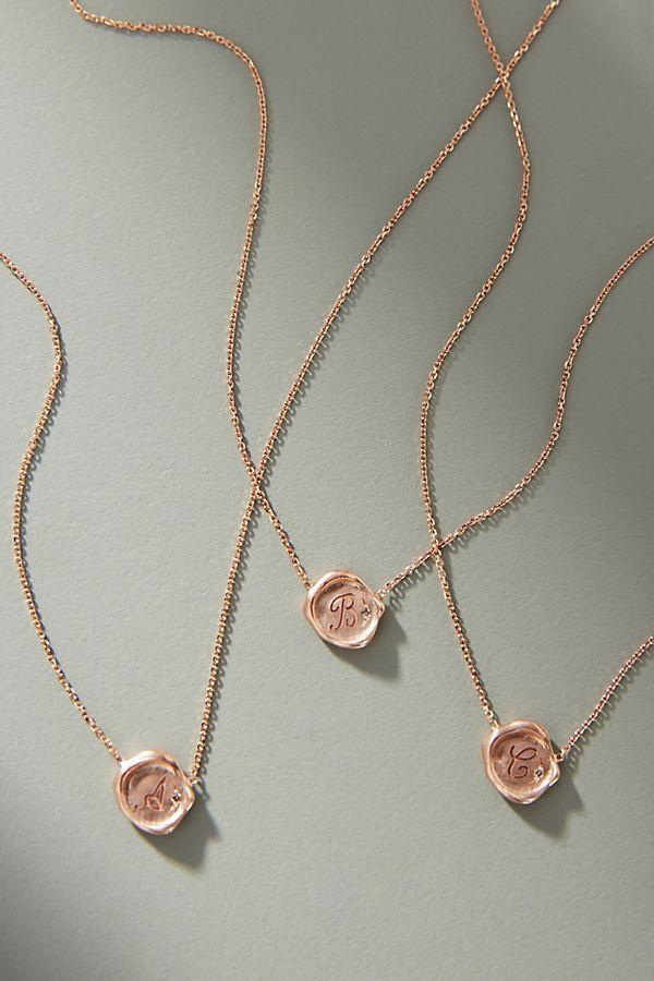980f51eb0457d6 Sirciam 14K Rose Gold Monogram Necklace in 2019   Initial Necklaces   Monogram  Necklace, Initial necklace, Gold