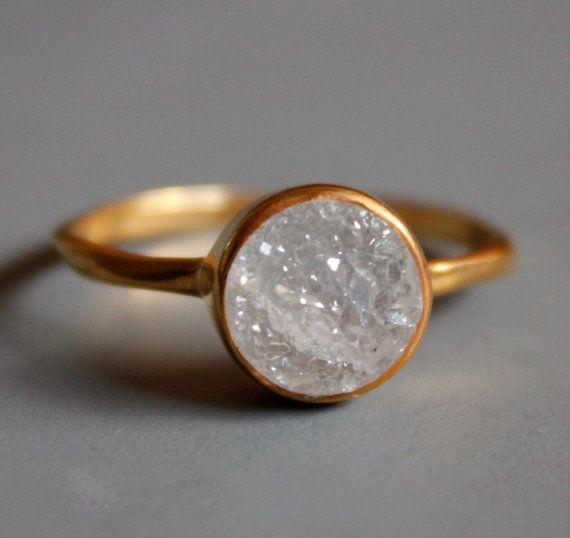Gemstone Ring  Druzy Ring  Round Shape  Stacking Ring by OhKuol