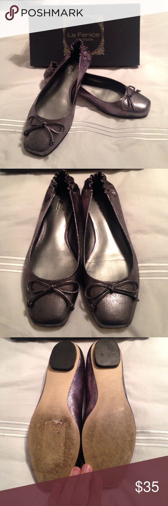 Silver ballet flats -7.5 Gently worn silver ballet flats. Purchased from Neiman Marcus Last Call. Has elastic back.  Bundle and save! Shoes Flats & Loafers