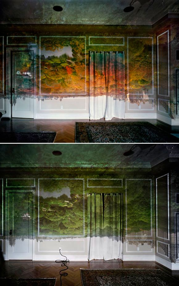 Camera Obscura: View of Central Park Looking North, 2008 – Autumn [above] + Summer view [below]. Image © Abelardo Morell.