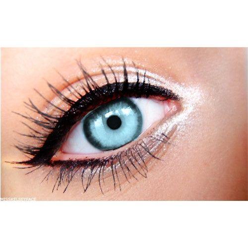 Black eyeliner on the outside. White eyeliner on the inside.