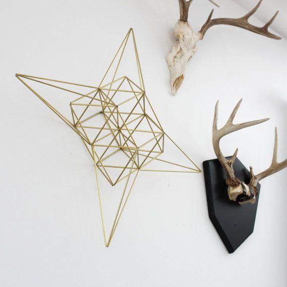 Large Brass Moravian Star Himmeli / Modern Hanging by HRUSKAA