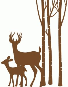 Silhouette Design Store - View Design #71287: deer son trees