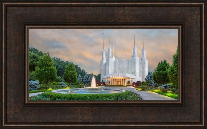 Washington d c temple fountains 15x24 framed art framed canvasframed artlds