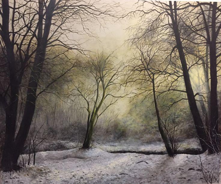 Nando Conti - Il ramo spezzato - Acrilico 2017 - Neve nel bosco
