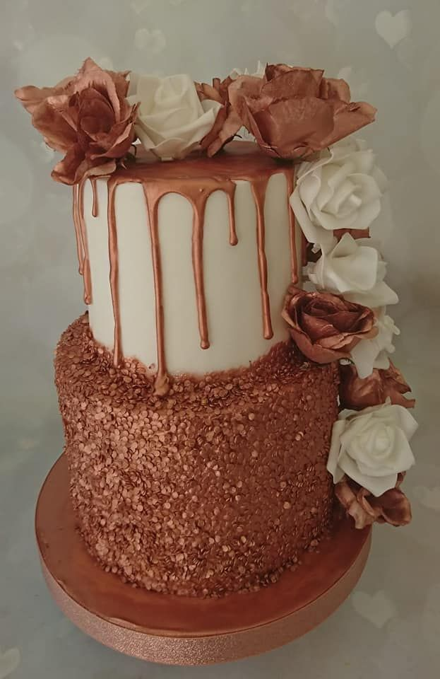 Rose Gold 2 Tier Confetti And Drip Cake With Large Roses