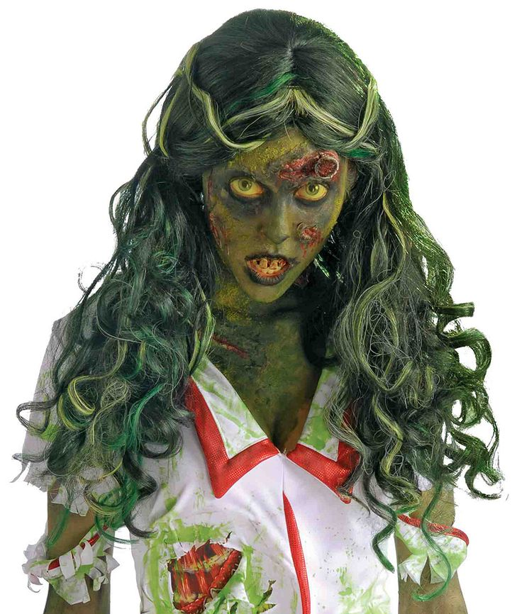 Toxic waste is more than a fashion statement with our Biohazard Zombie Infected Wig. It is a way of life for this mutant zombie and she has decided to flaunt it outside of the contaminated area. From the Biohazard Zombie collection, our women's Zombie Infected Wig features a blend of green, grayish-blue synthetic hair styled a long and curly cut with her front layers parted in the center and pulled back to expose her undying beauty. This infectious toxic substance has created a new…