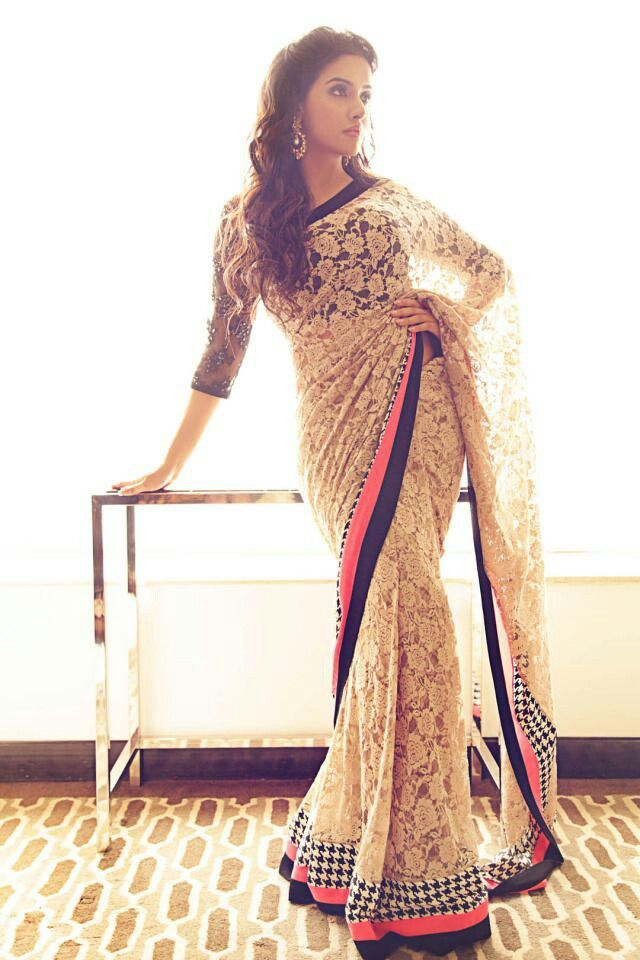 Asin in Chantelle Lace + houndstooth border sari, by Gaurav Gupta. Via Pernia's Popup Shop