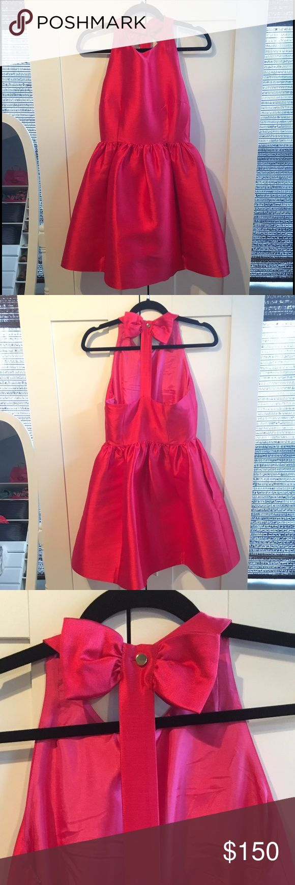 Kate Spade ♠️Aladdin Pink Bow Back Dress 🎀 NWT Kate Spade Aladdin Pink bow back fit & flare dress. Great fit & structure. Looks great on and is definitely a statement dress! Size 2. No trades. kate spade Dresses Mini