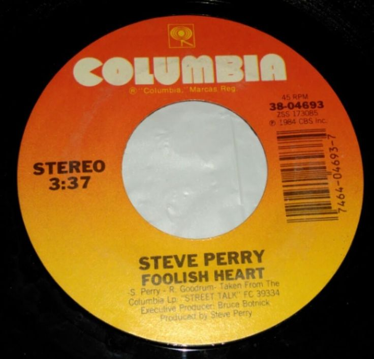 Steve Perry (Journey) Foolish Heart / It's Only Love 45 RPM Record Columbia 1984 #SoftRock