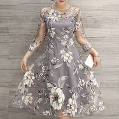 Charming Round Neck 3/4 Sleeve Floral Print See-Through Dress For Women Print Dresses | RoseGal.com