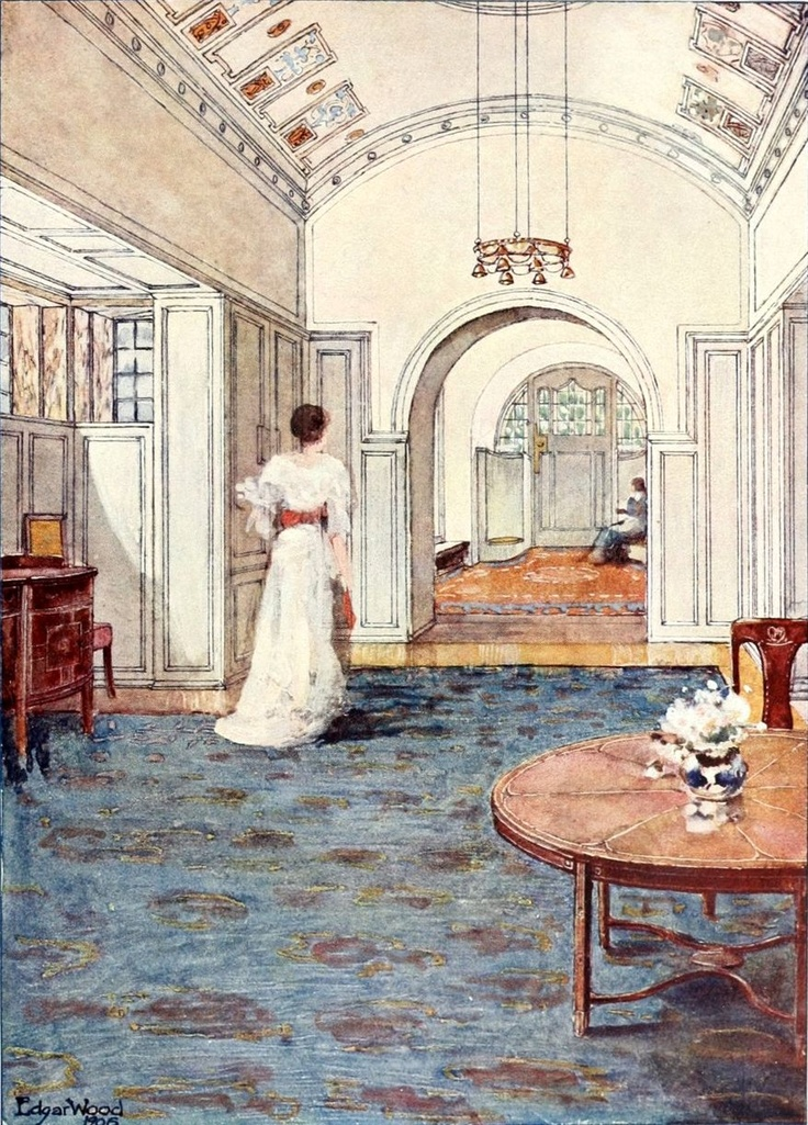 A beautifully proportioned and elegant gesellschaftsräumen (social room) designed by Edgar Wood in 1906.  The cream and white decor is underpinned by complementary blue and brown of the floors.  The round doorways are echoed in the ceiling, lighting and furniture.