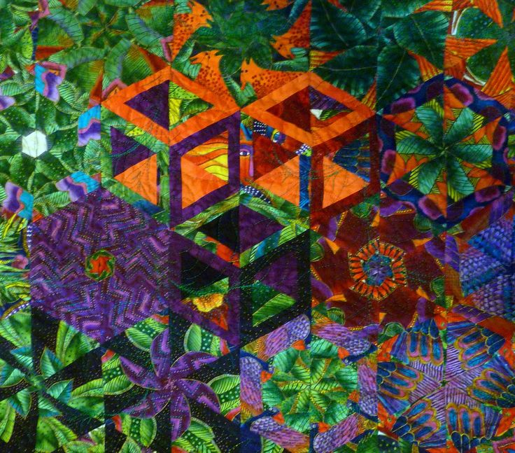 close up, one block wonder quilt made from a Laurel Burch panel by Shannon Conley at Colors Quilts Crafts