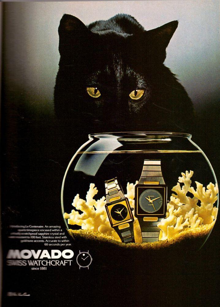 1982 Movado Watch Black Cat Fish Bowl Vintage Advertisement Print Ad VTG 80s | eBay