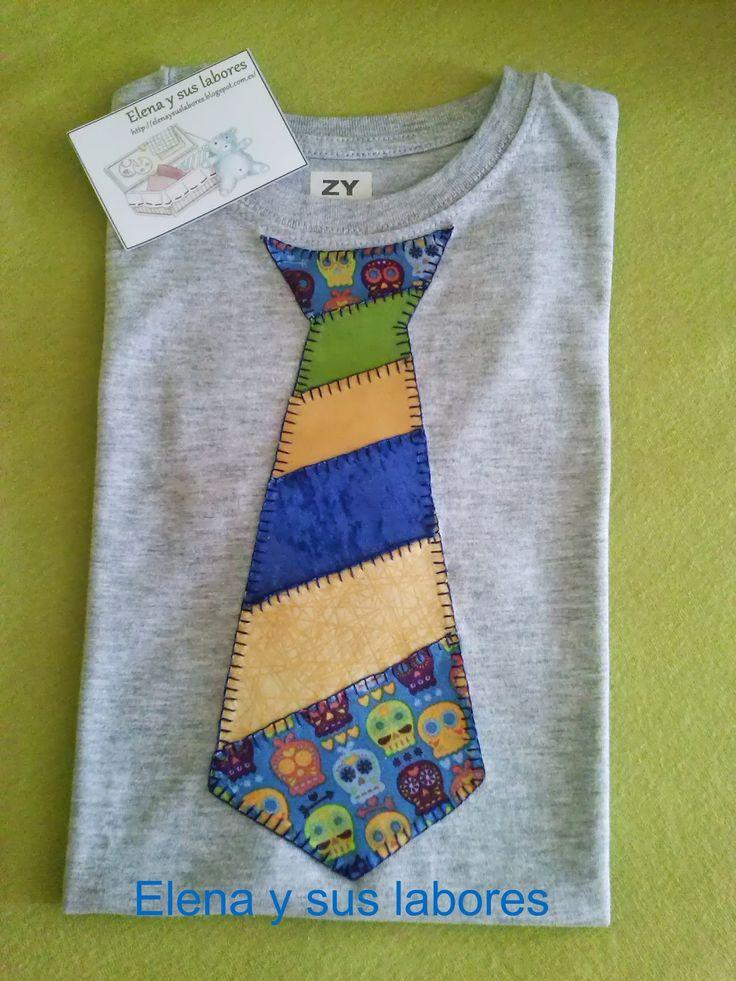 CAmiseta para niño con aplicaciones de patchwork, realizado todo a mano de: http://elenaysuslabores.blogspot.com.es/