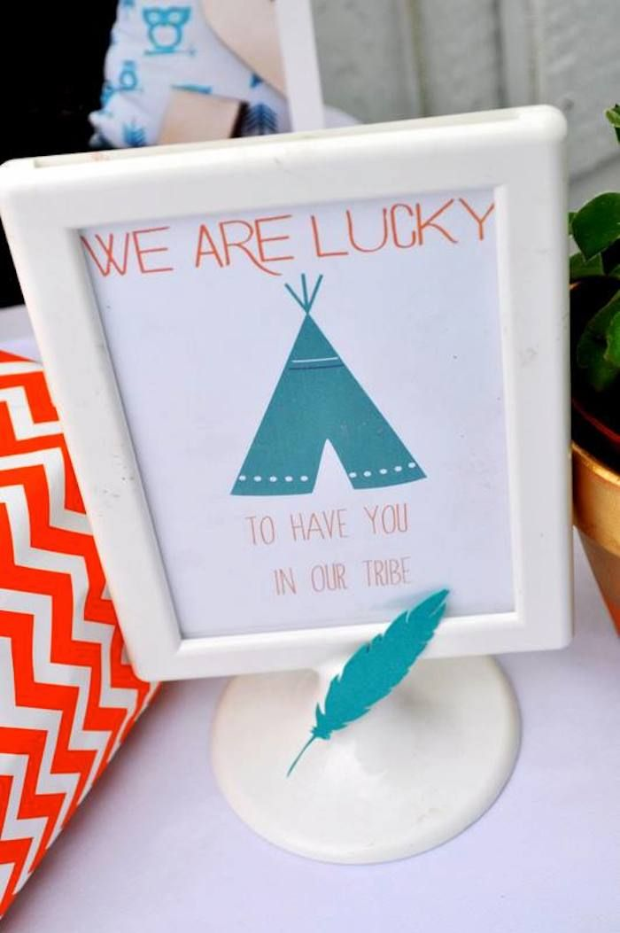"""Tribal + Camping themed birthday party via Kara's Party Ideas KarasPartyIdeas.com /// """"We are blessed to have you in our tribe"""""""
