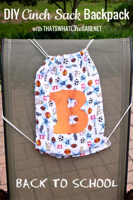 Hop over to get a full tutorial on how to whip up some of these awesome custom cinch sacks!