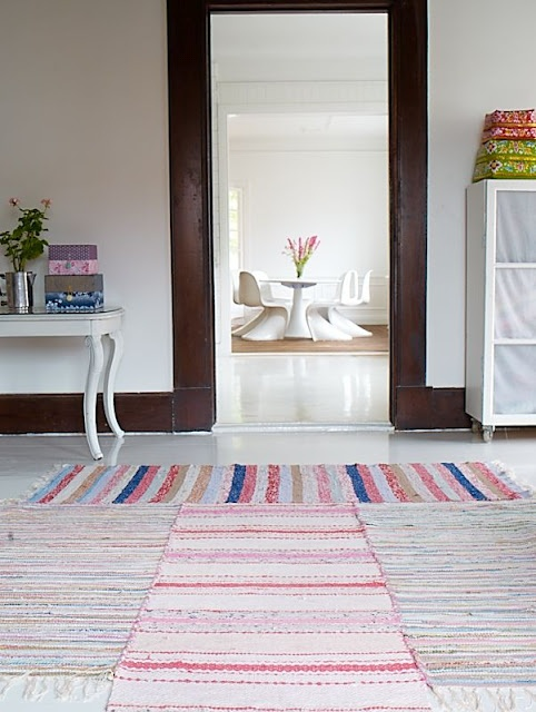 sew smaller rugs together to make a big area rug.