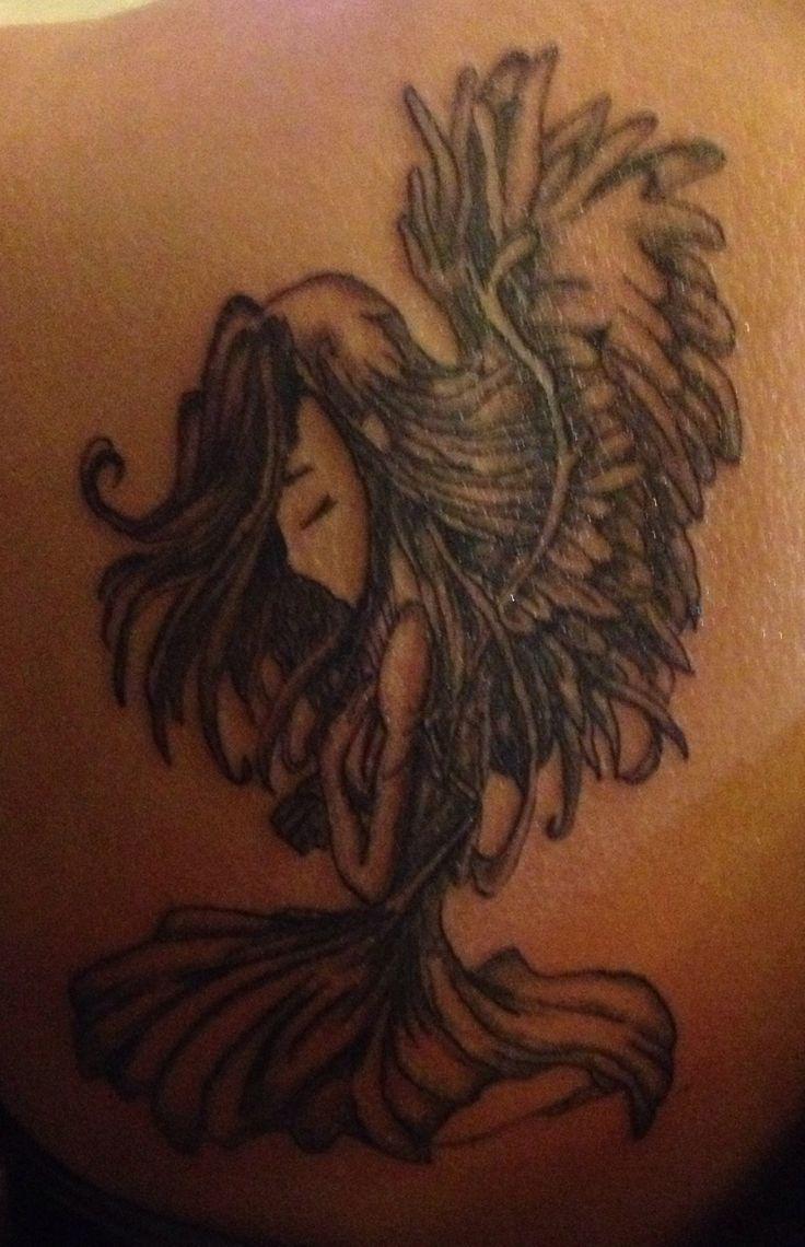 Sad bowing praying angel tattoo: Bowing Praying, Sad Bowing, Angels ...