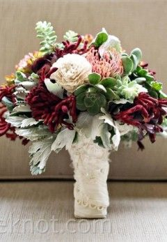 Australian Native Wedding Flowers The maroon kangaroo paw in this picture is usually available in march