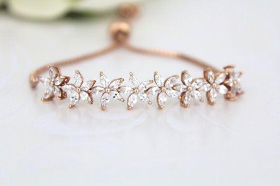 Bridal Tennis bracelet Gold Bangle bracelet by TheExquisiteBride