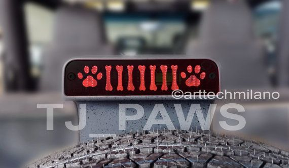 TJ PAW breaklight stickers. JEEP WRANGLER TJ stickers Made from black vinyl. PLUG-N-PLAY. Created and Made in Italy. Size: 164mm x 36mm (6.45in x