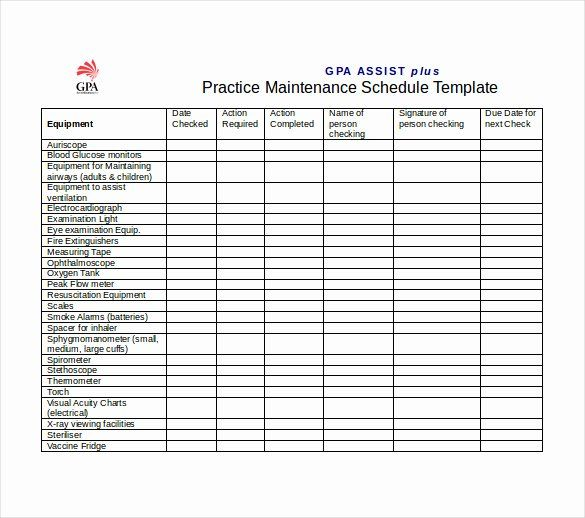 30 Preventive Maintenance Schedule