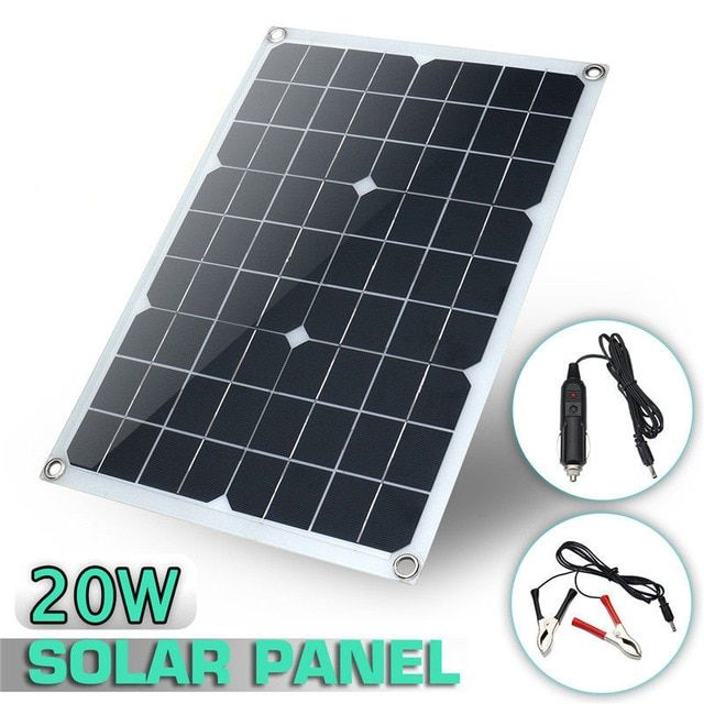 Sofirn 20w 18v Waterproof Battery Solar Panel Usb Home Outdoor Rv Car Charger Usb Dc Port Car Battery Ch Flexible Solar Panels Solar Panels Solar Panel Battery